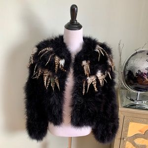 Vintage Full Feather Balero Jacket Teddy Bear M